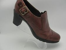 Clarks Bendables Brown Leather Buckle Zipper Ankle Boots Womens Sz 8 M