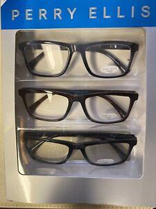 Perry Ellis  Premium Reading Glasses for Men 3 Pack +2.00 Black, Burgundy, Blue