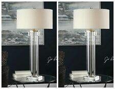 "PAIR MODERN MONETTE XXL 40"" ACRYLIC CYLINDER TABLE LAMP CRYSTAL BASE UTTERMOST"