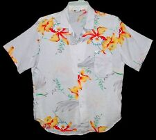 Sz L Vintage THE HAWAIIAN SHIRT Rayon Polynosic TROPICAL FLORAL Off-White USA