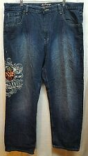 Men's 40X32 Brooklyn Unltd Blue Jeans Denim Distressed Embroidered A178