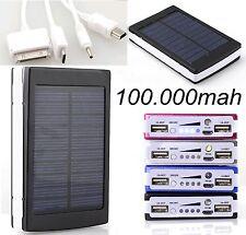 2 USB Power Bank Solar Charger External 100000mah Universal Portable
