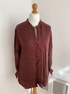 EILEEN FISHER Burgundy Cupro Long Sleeve Mandarin Collar Shirt L/G : NEW