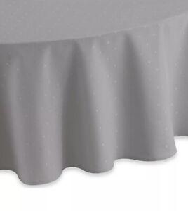 "Kate Spade Tablecloth Labradee Dot Platinum Gray 70"" Round New"