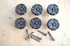 SET OF 6 ANTIQUE STYLE ENGLISH ROSE IRON FURNITURE KNOB DRAWER DOOR HANDLE WH60