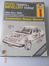Haynes Repair Manual for 1984-1994 Gasoline Engine Ford Tempo & Mercury Topaz