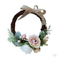 2pcs Rattan Handmade Artificial Flower Wreath Garland Wreath Wedding Decor