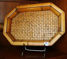 DECORATIVE CERAMIC BAMBOO TRAY PLATTER WITH BASKET WEAVE LOOK!