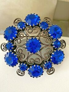 Vintage Signed Weiss Made by D&E Juliana Cobalt Blue Rhinestone Brooch Pin