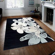 Floral Large Area Rug White Navy Blue Carpets Floor Decor Stylish Carpet