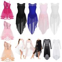 Girls Kid Lyrical Ballet Dance Leotard Dress Modern Praise Tulle Skirt Dancewear