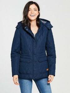 BNWT Trespass Womens Jenna Quilted Hooded Jacket Navy Size L 14