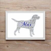Personalised Pedigree Labrador Word Art Print Keepsake Christmas Birthday Gift