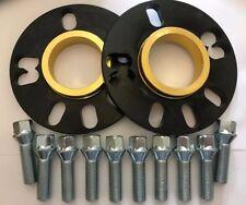 2 X 10mm BIMECC BLACK HUB SPACERS + 10 X M14X1.5 SILVER BOLTS FIT AUDI 57.1 112