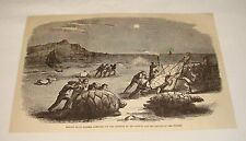 1877 magazine engraving ~ TURTLE HUNTING, English Bluff Traders