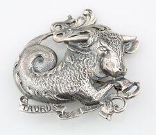 Plata de Ley Taurus Broche por Guglielmo Cini Zodíaco Bull Astrología Pin Back