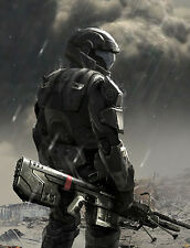 "Halo 1 2 3 4 Game Fabric poster 32"" x 24"" Decor 3-100"