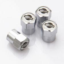 4 x Silver Chrome Tyre Valve Dust Caps (Fits NISSAN) - WHITE