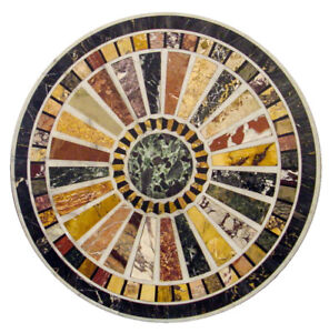 """24"""" Marble patio / coffee multi stones inlay Table Top marquetry handmade work"""