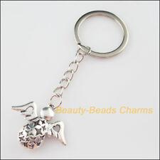 2 Fashion 32mm Key Ring KeyChain Tibetan Silver Lovely Angel 28.5x34mm Pendant