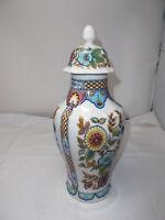 Florentine Italienische Porzellan Deckelvase -Handbemalt H-34cm