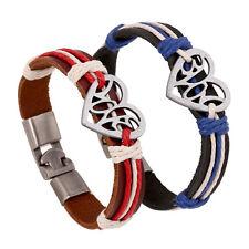 Fashion 2pcs  Bracelets Alloy Braided Leather Bracelet Lovers Jewelry Bracelet