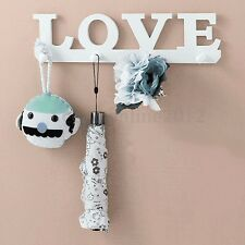 White Wood LOVE Hook Clothes Coat Key Holder Hat Hanger Rack Wall Mounted Home