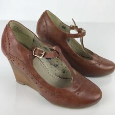 Restricted Womens T-Strap Wedge High Heels Brown Leather Buckle Mary Jane 6.5