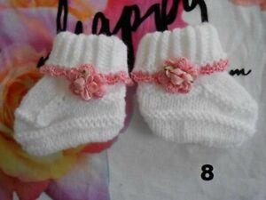chaussons bébé laine,chaussons naissance bébé fille laine rose tricotés