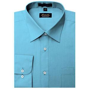 Mens Dress Shirt Plain Turquoise Modern Fit Wrinkle-Free Cotton Blend Amanti