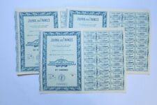 LE JOURNAL DES FINANCES ACTION DE 100 FRANCS PARIS 1927 X 89 ACTIONS
