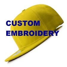 **CUSTOM** Personalised Text Embroidery Yellow FLAT Peak Brim SNAPBACK Cap Hat