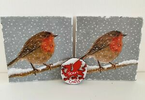 2 x lovely Robin decoupage small canvases. Mothers day, fathers day gift