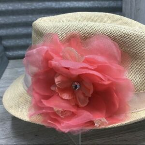 PLACE Girls Wheat Woven Fedora Paper Straw Salmon Color Flower Rhinestone Size L