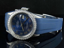 Sporty Custom Rolex Datejust Blue Dial Rubber Band 36MM Diamond Watch 2.5 Ct
