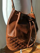Mark Cross Leather Bucket Bag Drawstring Crossbody NEW  Vintage Quilted Detail