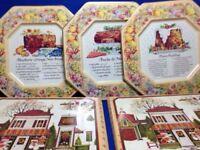 Avon Hospitality Recipe Metal Serving Plates 3 Vintage 2 Box England Christmas
