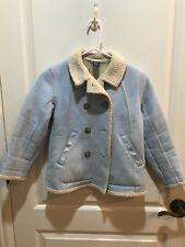 EUC Girls Shearling Gap Jacket Light Blue Medium 7-8