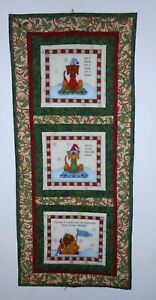 """3-Panel Dog Lovers Christmas/Winter Quilted Wall Hanging 15"""" x 35"""""""