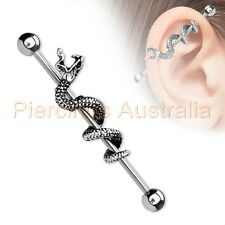 14G 38mm Snake Industrial Barbell Ear Ring Bar Body Piercing Jewellery