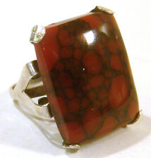 Unique Coral Ring Size 6.5 Taxco Mexico .925 Sterling Silver