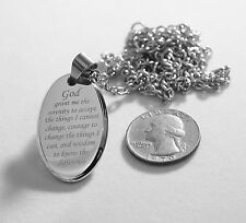 Serenity Prayer 3D Oval Pendant Necklace Stainless Steel God Lord Religion