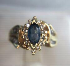 Estate 14k Yellow Gold Marquise Blue Topaz Round Diamond Cocktail Ring
