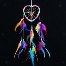 Rainbow Dream Catcher Coeur Boho Plume Attrape-rêve Ornement Chambre Voiture