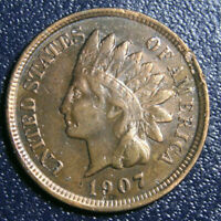 1907 Indian Head Cent Penny, XF+ Extremely Fine, US Coin!