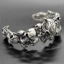 Large Stainless Steel Knight Skull Head Cuff Men's Bangle Bracelet Biker Jewelry