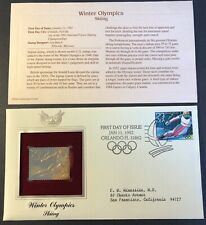 22kt Gold Stamp Winter Olympics SKIING 1st Day Cover Proof USA 1/11/1992