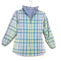 Lands' End Reversible Windbreaker Jacket Sz L (14) Scuba Hood Blue Plaid Zip Up