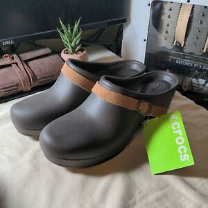 Crocs Sarah Womens sz 10 Mules Clog Expresso Leather Strap Buckle Heel Brown
