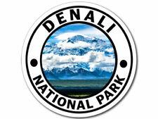 4x4 inch Round DENALI National Park Sticker (hike travel rv Alaska ak np dnp)